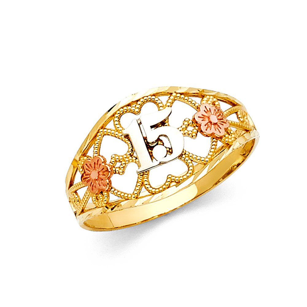 FB Jewels 14K White Yellow and Rose Three Color Gold Fifteen 15 Year Birthday Quinceañera Fashion Anniversary Ring Size 6.5