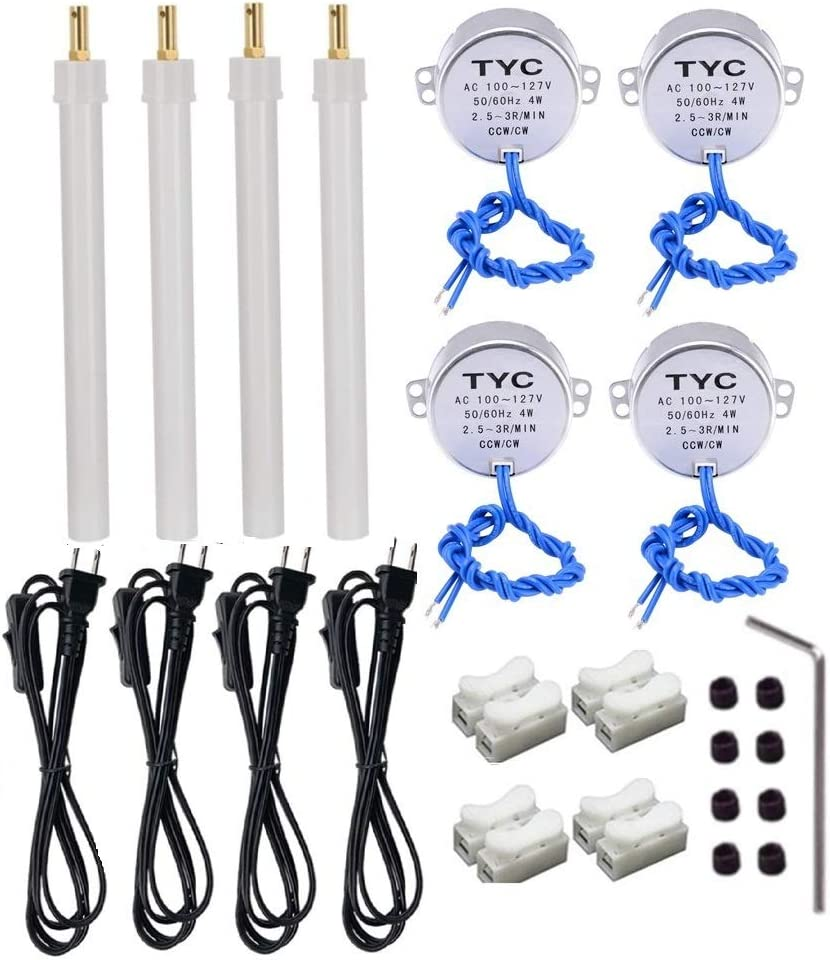 8 Set Cup Turner kits Accessories for Crafts Tumbler,Includes Synchronous Turntable Motors,Coupling Connectors,DN25 Pipe,Switch Cords 2.5-3RPM for Cuptisserie,Tumbler Cup Rotator Machince