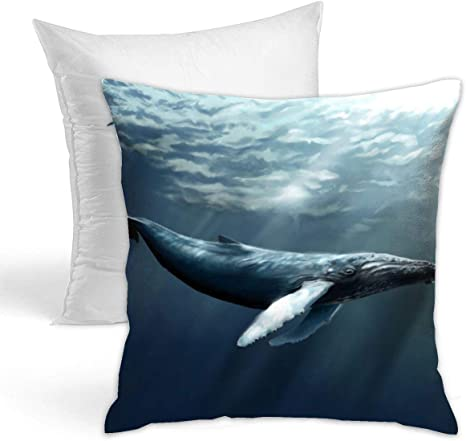 Amazon Com Kiengg Ocean Humpback Whales Sea Diving Decorative Throw Pillow For Bed Couch Cushion Cover Square Pillowcases 18 X 18 Inches Double Side Contain Pillow Core Home Kitchen