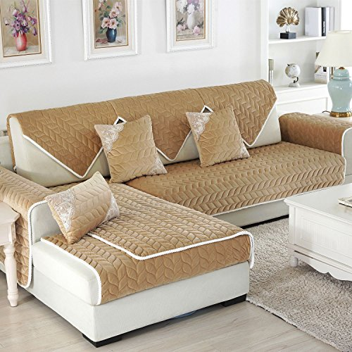 OstepDecor Multi-size Soft Rectangular Winter Quilted Furniture Protector and Slipcover for Pets, Kids, Dogs - Large & Standard Sofa, Loveseat, Recliner and Chair | Coffee 28