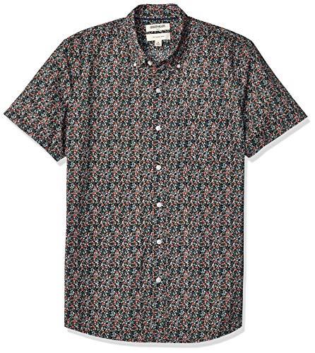 (Goodthreads Men's Slim-Fit Short-Sleeve Printed Poplin Shirt, Pink Mini Floral,)