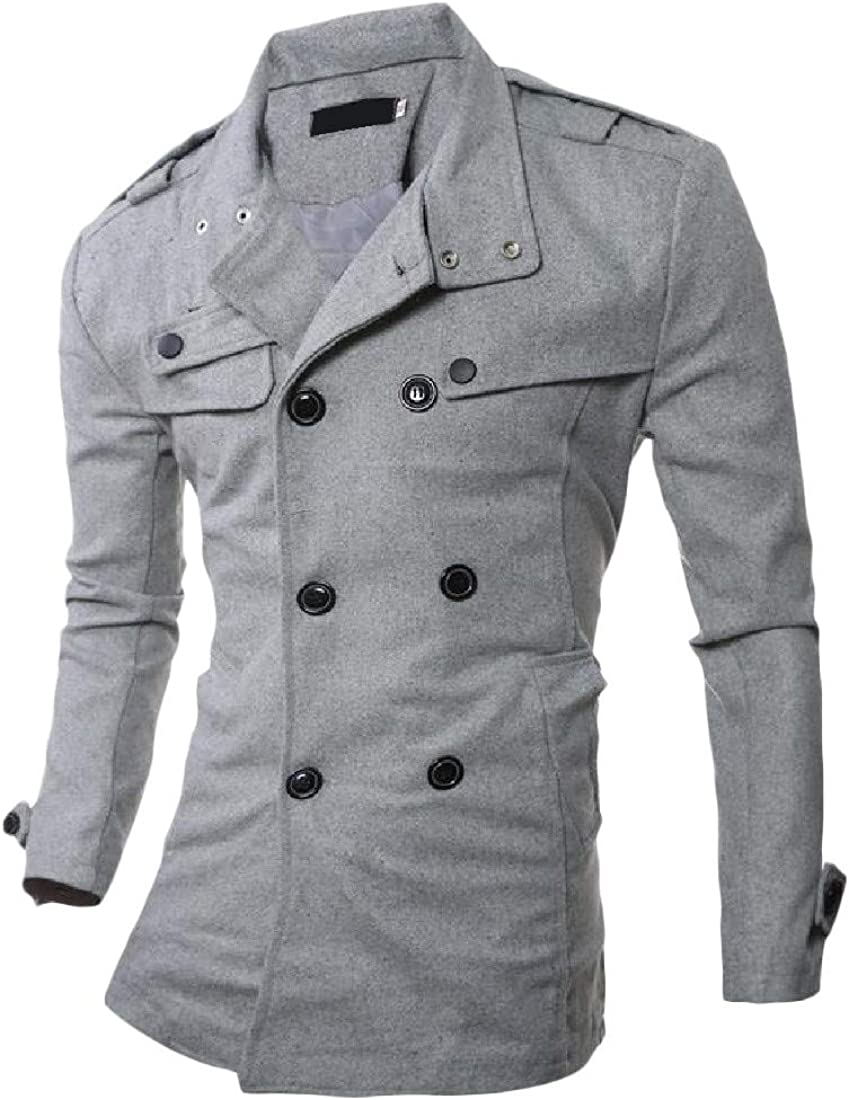 XiaoTianXinMen XTX Men Overcoat Solid Double Breasted Jacket Windbreaker Trench Coat Gray L