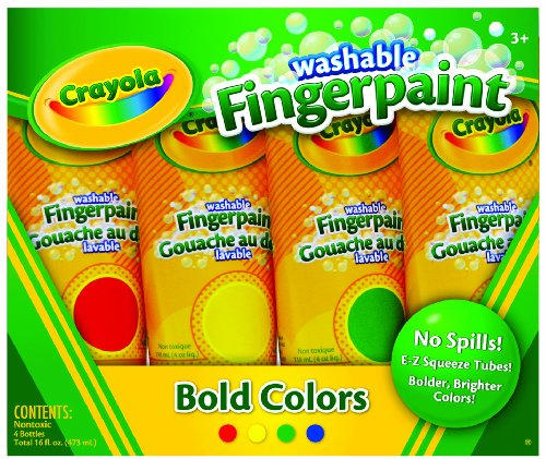 Crayola 4ct Washable Fingerpaints Primary (Bold, primary colors in red, blue, yellow, and green)