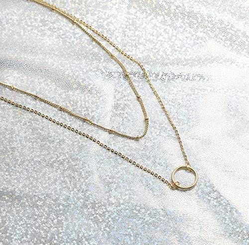 Mevecco レイヤードハートネックレスペンダント ハンドメイド 18Kゴールドメッキ 上品なゴールドチョーカー 矢印バー 重ね付けロングネックレス 女性用