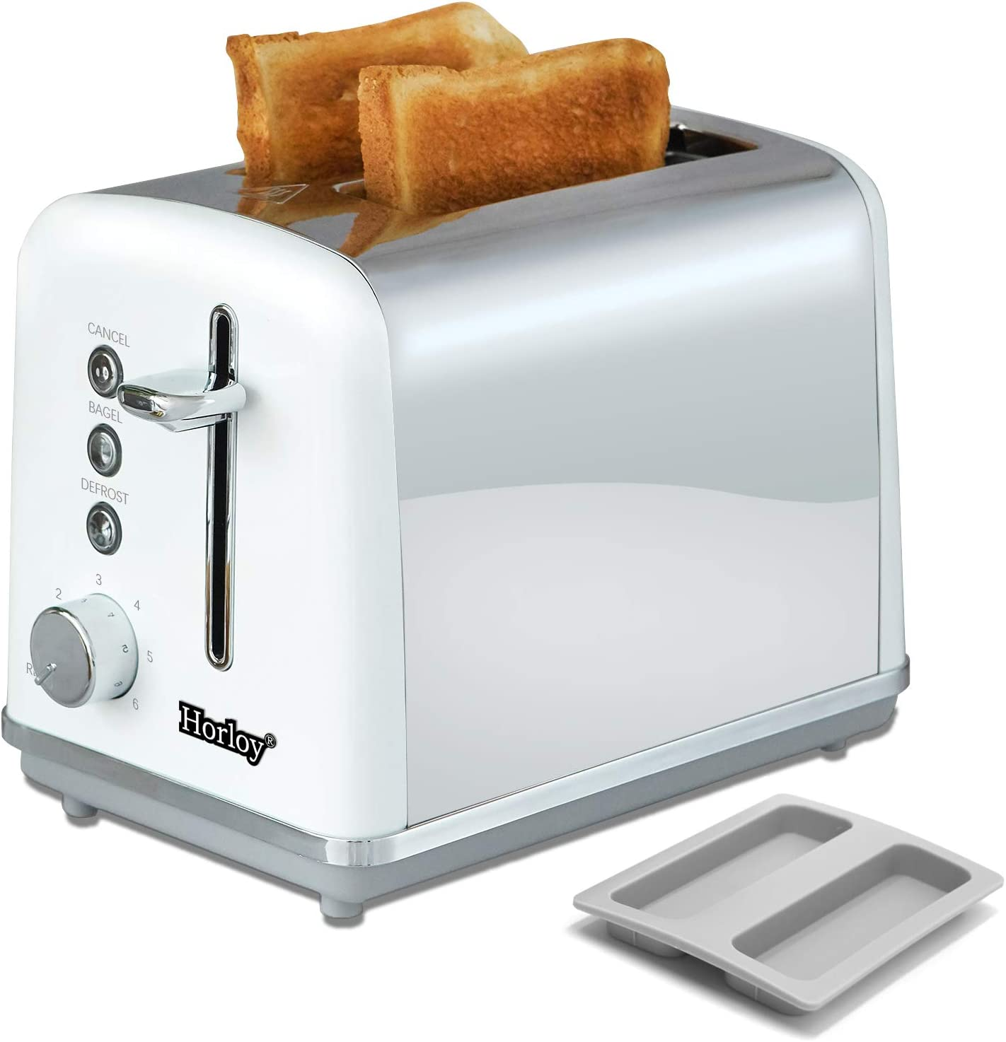 Horloy Stainless Steel Toaster 2 Slice Compact Bread Toaster Extra Wide Slots with Dust Cover and Removable Crumb Tray, Cancel/Bagel/Defrost/Reheat Functions 6 Bread Shade Settings, White Silver