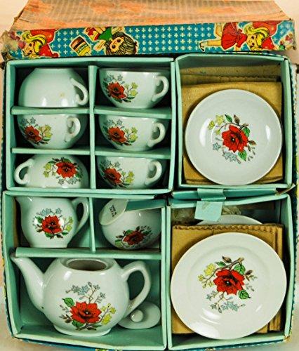 (1964 - Toy Tea Set - Post War Japan - Real China - Orange Flower Motif - Tea Pot / Creamer / Sugar Bowl / Plates / Cups / Saucers / Original Box - Out of Production - Very Rare - Collectible)