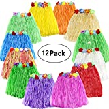 SPIEL Hawaiian Luau Hula Grass Skirt 12 pack Hula Skirt with Colorful Silk Flower Leis for Birthday Tropical Party Celebration Supplies