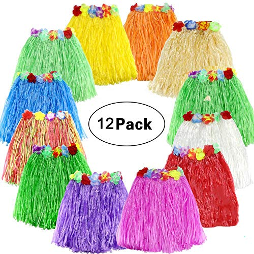 (SPIEL Hawaiian Luau Hula Grass Skirt 12 pack Hula Skirt with Colorful Silk Flower Leis for Birthday Tropical Party Celebration)