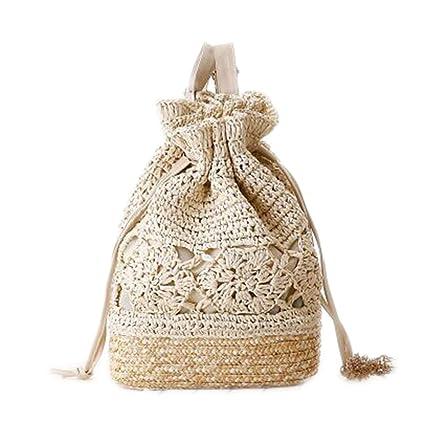 Beach Bag Woven Straw Drawstring Backpacks Beige