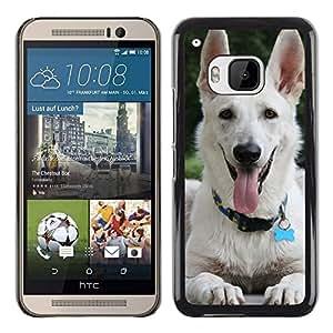 PC/Aluminum Funda Carcasa protectora para HTC One M9 White Shepherd Dog Panting Tongue / JUSTGO PHONE PROTECTOR