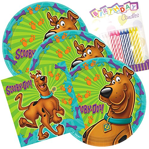 Lobyn Value Pack Scooby Doo Party Plates and Napkins Serves 16 With Birthday -