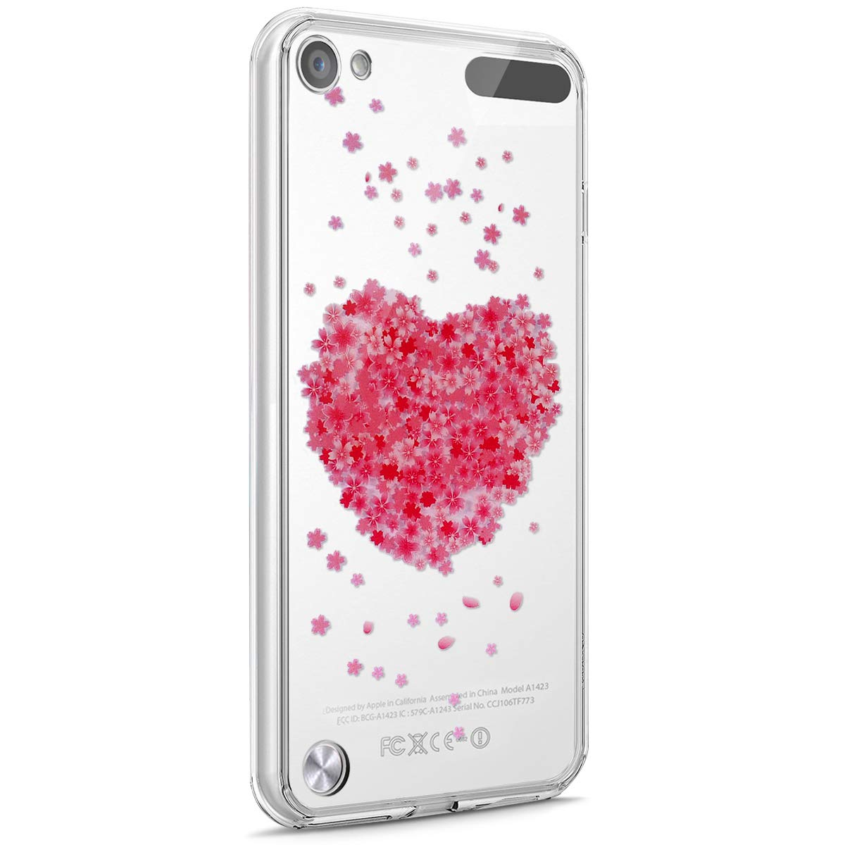 Surakey Cover iPod Touch 5/Touch 6, Trasparente Case Serie di Fiori di Ciliegio Ultra Sottile Cristallino TPU Silicone Morbido Custodia Protettiva Skin Floreale Cover per iPod Touch 5/Touch 6,Fiore#4 SUR13777