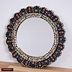 "Decorative Cuzcaja Round Mirror For wall 17.7in""Mystic Flowers""- Peruvian Accent Black Mirror - Reverse Painted glass"