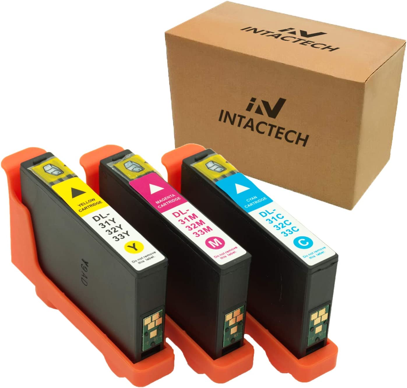 Intactech Replacement for Dell Series 31 32 33 V525w V725w Color Ink Cartridges (1 Cyan, 1 Magenta, 1 Yellow, 3 Color Pack) Work for Dell V525w V725w Printer