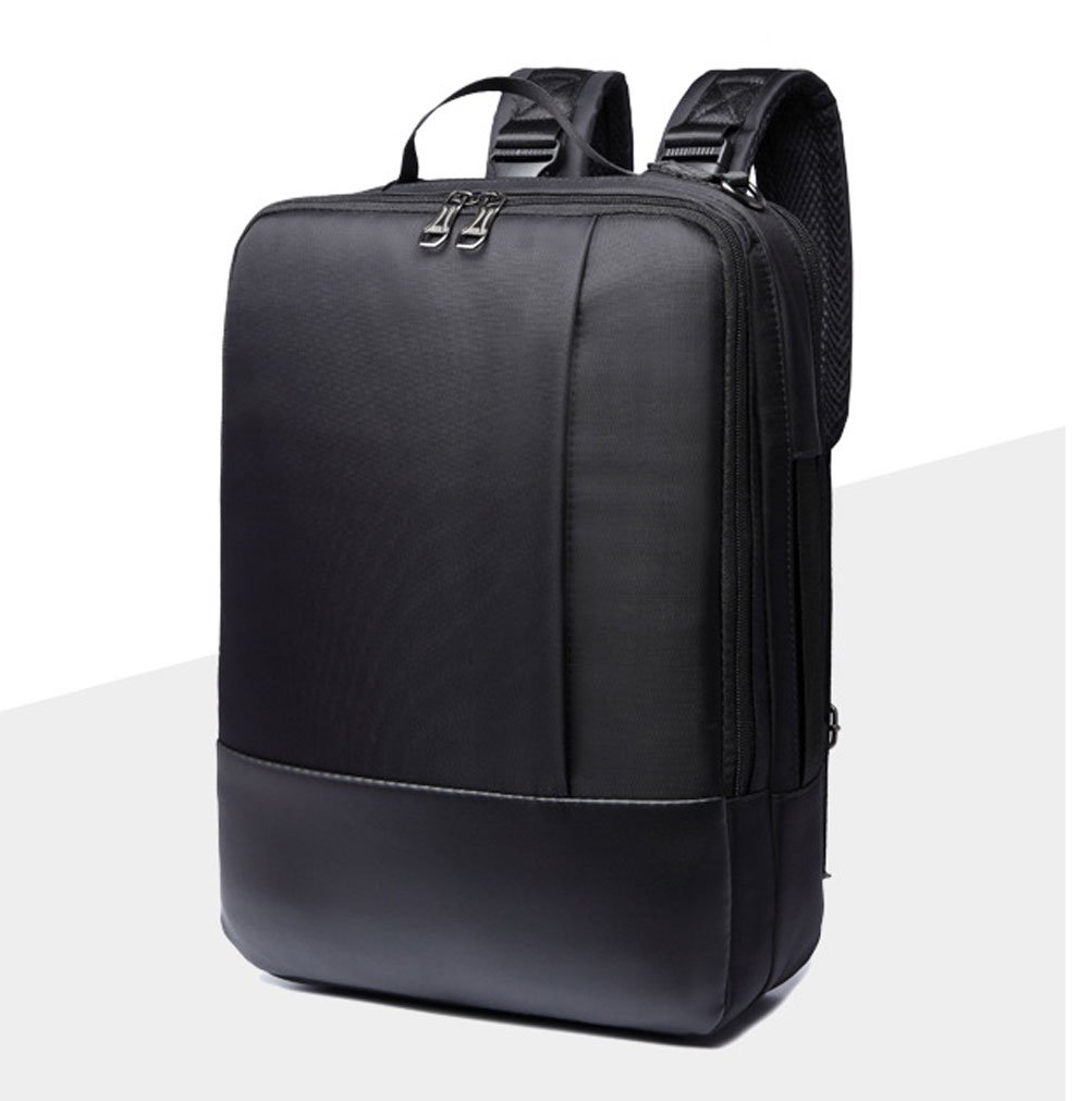14/15.6 inch Multi-function Convertible Laptop Messenger Computer Bag Single-shoulder Backpack Briefcase Oxford and PU Leather Waterproof Multi-Compartment For iPad Pro Macbook Men and Women (Black-1)