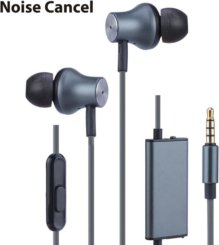 Avantree Active Noise Cancelling Earbuds with Microphone, Wired ANC Sound Canceling Earphones, Noise Reduction Isolating in Ear 3.5mm Headphones for Travel Airplane iPhone Cell Phones PC – ANC029