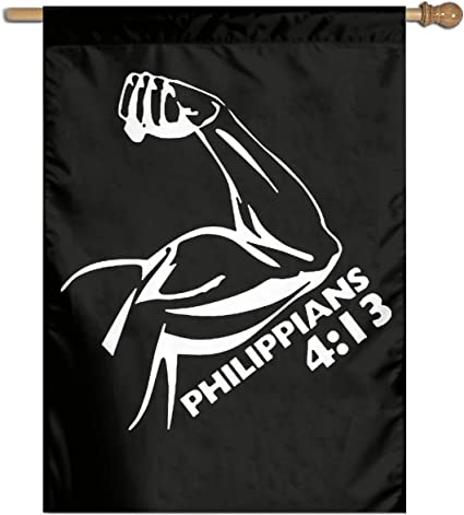 Amazon Com Kaloloa Bible Verse Philippians 4 13 Christian Garden Flag Banner For House Yard Decoration Family Flag 27 X37 Sports Outdoors