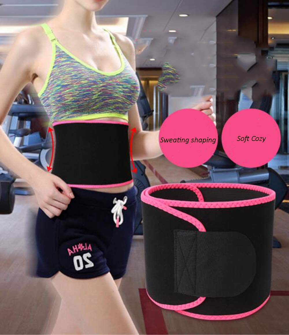 CLEYCYE Waist Trainer Slimming Body Shaper Belt - Sport Girdle Waist Trimmer Compression Belly Weight Loss Workout Fitness for Women Men,Rosy+Medium