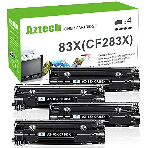 AZTECH 4 Packs 2,500 Pages High Yield Black Compatible Toner Cartridge Replaces HP 83X CF283X CF283 For LaserJet Pro M127,M225,M125,M128 Series,LaserJet Pro M201 M202 Series Printer (Hp Printer M127)