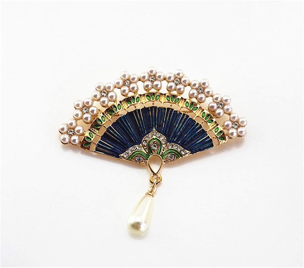 ZQword Broches de Abanico Moda Vintage Perla de imitación Abanico en Forma de Broche para Las Mujeres Accesorios de joyería Pines