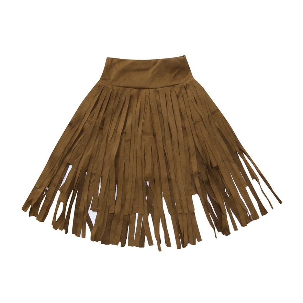 Vinjeely Kids Toddler Girls 1-5Years Old Tiered Tassel Long Skirt Ruched Summer Solid Dress