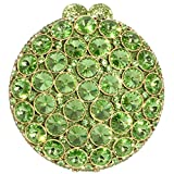 Digabi Exquisite Design Rhinestone Purses Round Shape Luxury women Crystal Evening Clutch Bags (One Size : 5.3 IN (L) x 5.9 IN (H) x 1.97 IN (W), Green Crystal - Gold Plated)