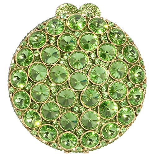 Digabi Exquisite Design Rhinestone Purses Round Shape Luxury women Crystal Evening Clutch Bags (One Size : 5.3 IN (L) x 5.9 IN (H) x 1.97 IN (W), Green Crystal - Gold Plated) by Digabi