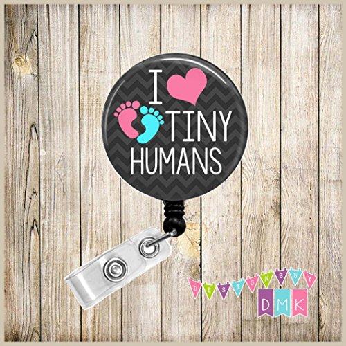 I LOVE Tiny Humans - Baby Feet - Black Chevron - Pink - Button Badge Reel