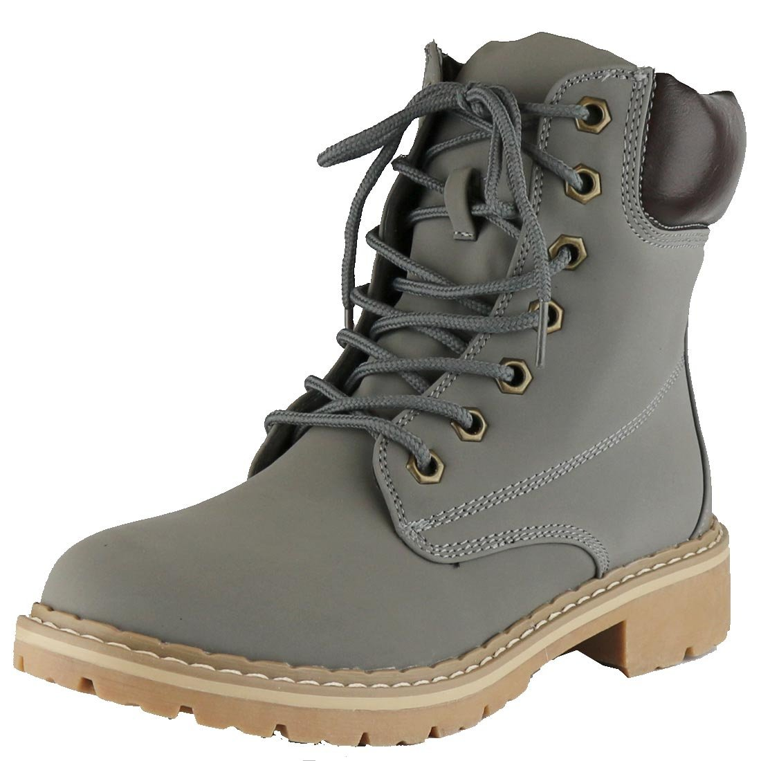 Cambridge Select Women's Work Combat Military Mid Calf Lug Sole Boot,7.5 B(M) US,Grey