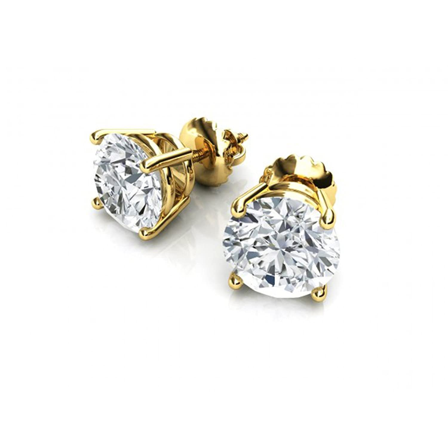 0.9ct Brilliant Round Cut Solitaire Highest Quality Moissanite Unisex Anniversary Gift Stud Earrings Real Solid 14k Yellow Gold Screw Back