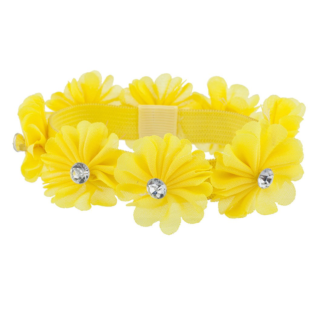 Amazon.com   Lux Accessories Yellow Rhinestone Chiffon Flower Ponytail  Holder Elastic HairTie   Beauty ccbfc3ac58e