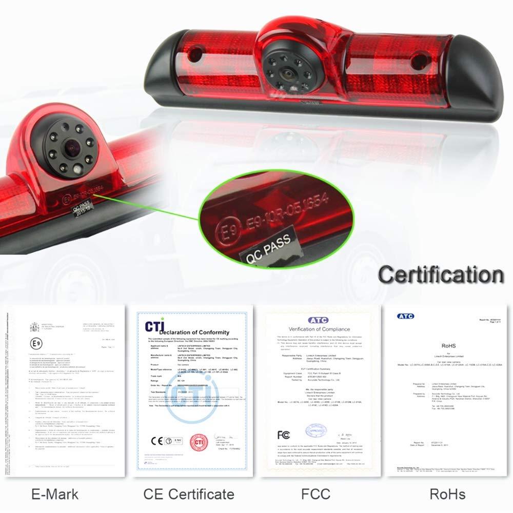 in 3 Bremsleuchte integriert mit Mikrofon,Dach Kamera in 3 HD Farb-R/ückfahrkamera E9 //E-Mark-Zulassung Bremsleuchte f/ür FIAT Ducato Citroen Jumper II Typ 250 Cam Citroen Relay Peugeot Boxer 06-17