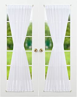 Superior RHF Voile French Door Curtains Set Of 2 Panels, 40W By 72L Inches,