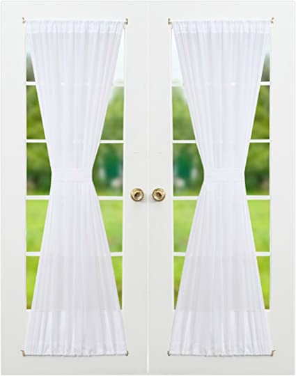 Exceptionnel RHF Voile French Door Curtains Set Of 2 Panels, 40W By 72L Inches,