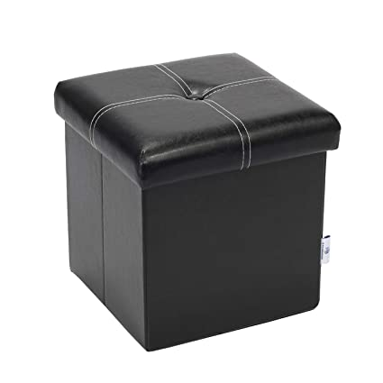 Fine B Fsobeiialeo Storage Ottoman With Faux Leather Foldable Small Square Foot Rest Stools Coffee Table Black 11 8X 11 8 X 11 8 Gmtry Best Dining Table And Chair Ideas Images Gmtryco