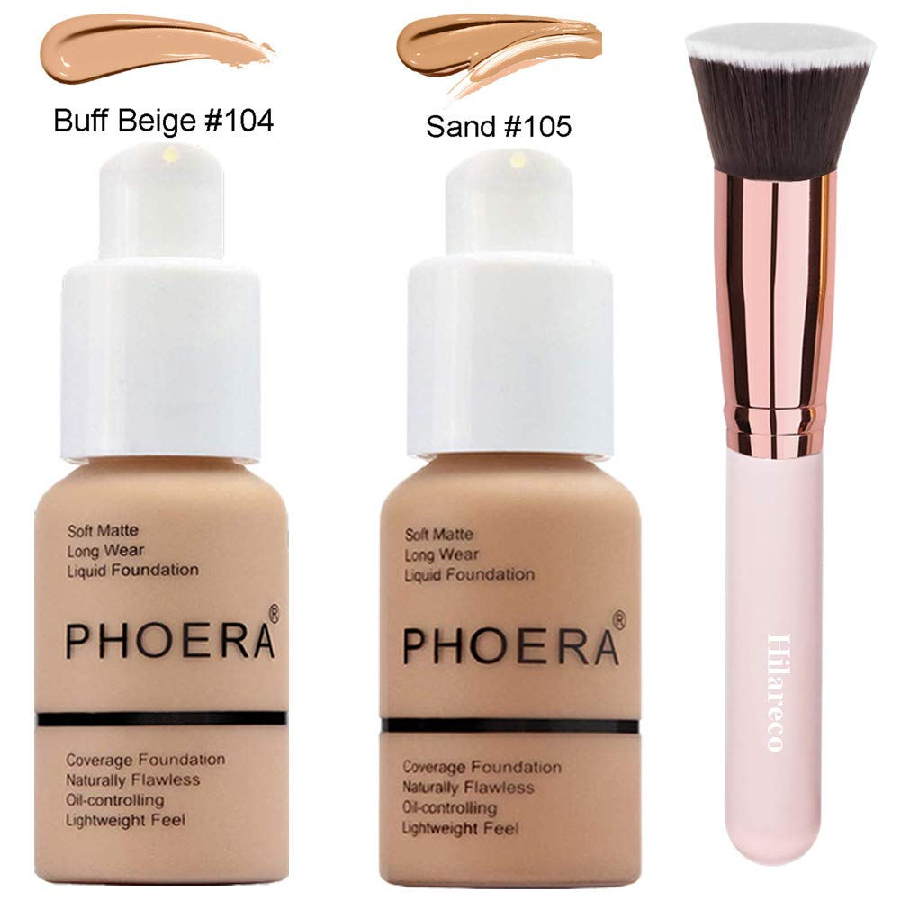 Phoera Foundation,Foundation Brush,2 Pcs Liquid Foundation 30ml Natural Moisturizing Highlighting Matte Oil Control Concealer Facial Blemish Concealer Color Changing Phoera Foundation for Women Girls