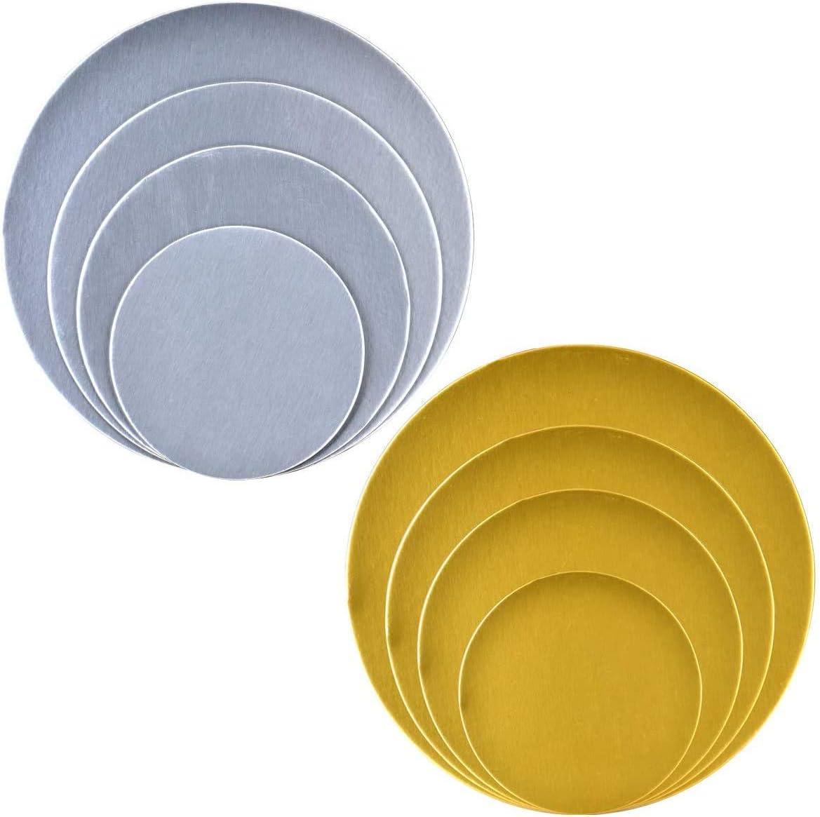 WENTS Lot de 8 planches /à g/âteau rondes en carton recyclables et empilables Argent/é et dor/é 2,5 mm