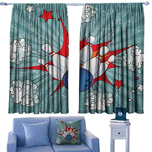GAAGS Waterproof Window Curtain,Bowling Party Retro Comic Cartoon Ball Crash Image Pop Art Stars Aim Party Game Design,Rod Pocket Drapes Thermal Insulated Panels Home décor,W55x72L Inches Multicolor