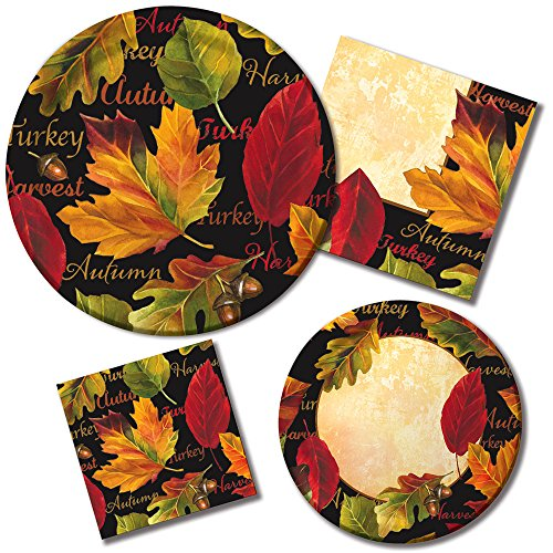 Thanksgiving Autumn Expressions Fall Leaves Holiday Tableware Set Paper Plates and Napkins for 16 Guests, Black/Gold/Red -