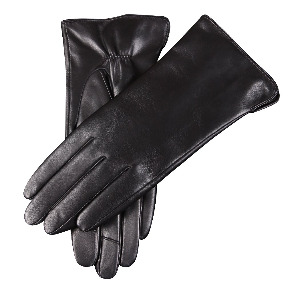 WARMEN Women's Touchscreen Texting Genuine Nappa Leather Glove Winter Warm Simple Plain Cashmere & Wool Blend Lined Gloves (Medium (7), Black (2017 New Touchscreen/Cashmere Blend Lining)) by WARMEN