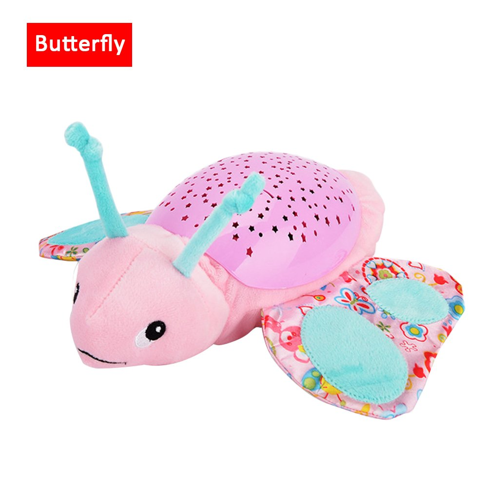Samber Baby Luminous Plush Toy Projection Animal Doll Musical Star Projector Nightlight Baby Sleep Comfort Toys Stuffed Toys with Music and Light for Baby Infant Kids (Butterfly)