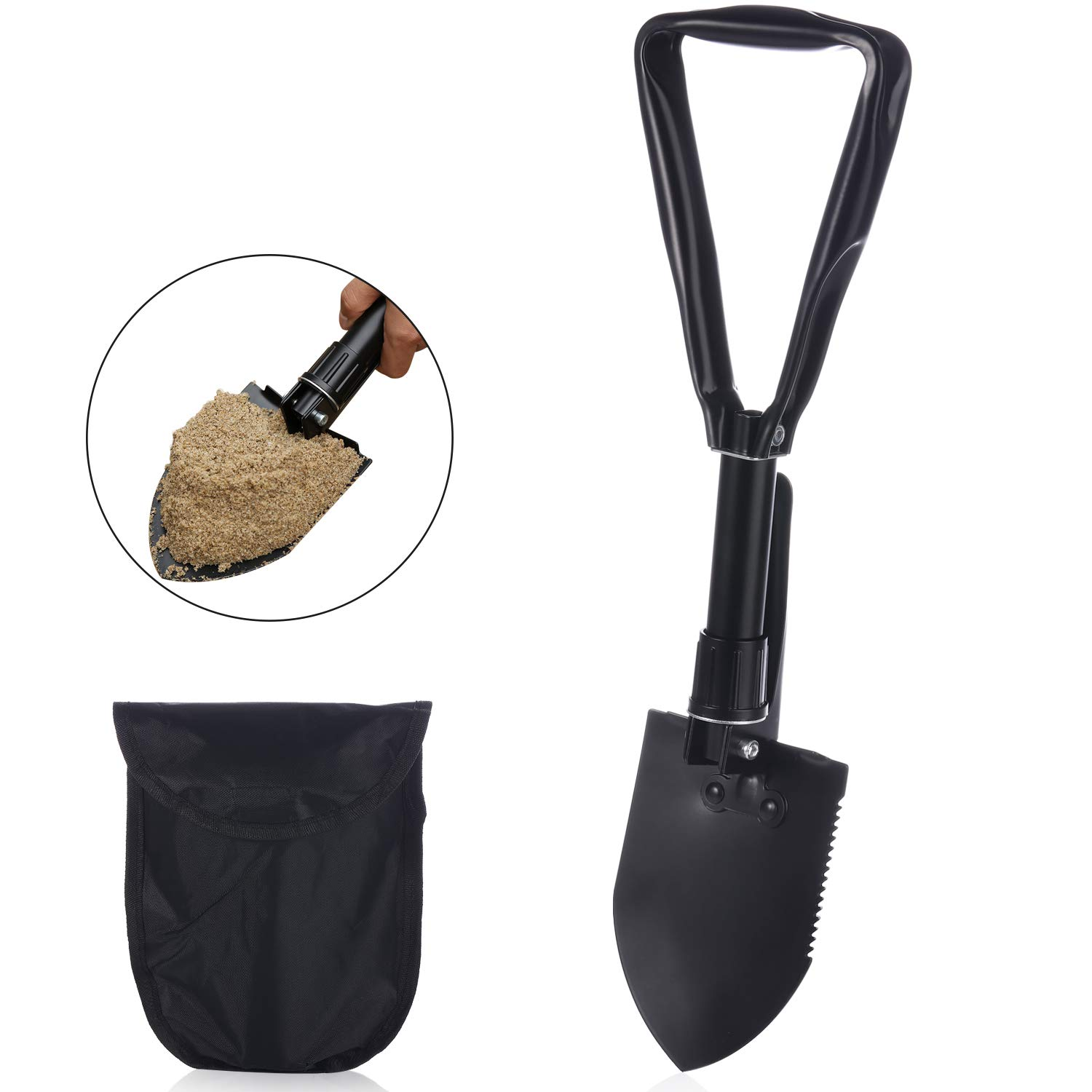 Elehealthy Tri-fold Folding Shovel, Military Shovel Survival Gear with Nylon Carrying Pouch, Mini, Lightweight and Compact Entrenching Tool for Camping Hiking Backpacking Fishing Gardening