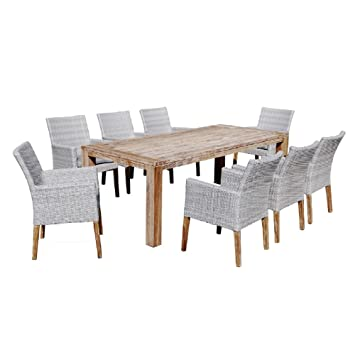 Evergreen Juego 1 mesa de madera + 8 sillones Muebles de ...