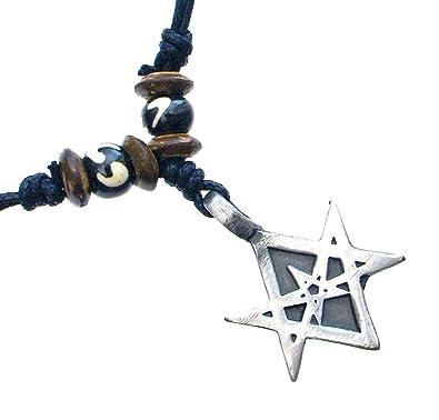 Amazon unicursal hexagram charm amulet pewter pendant handmade unicursal hexagram charm amulet pewter pendant handmade adjustable beads necklace mozeypictures Images