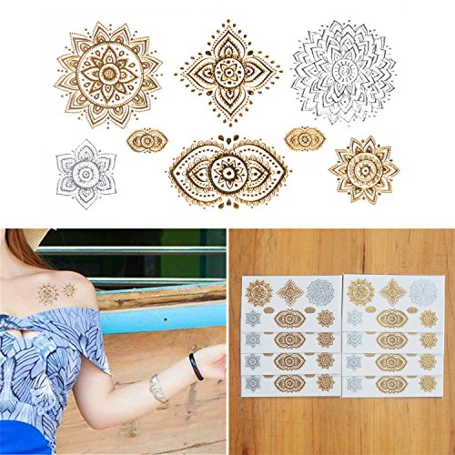COKOHAPPY 8 Sheets Tiny Mandala Indian Totem Gold Silver Flash Metallic Temporary Tattoo - Diy Indian Costumes