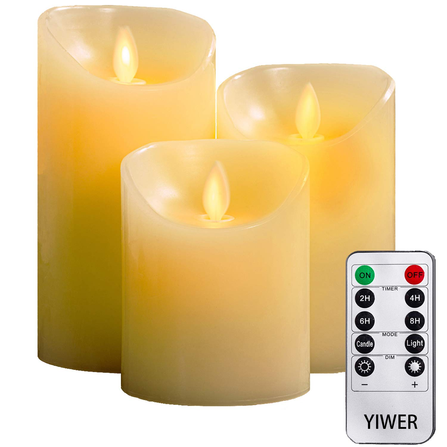 Flameless Candles, 4'' 5'' 6'' Set of 3 Real Wax Not Plastic Pillars, Include Realistic Dancing LED Flames and 10-key Remote Control with 2/4/6/8-hours Timer Function, 300+ Hours-YIWER (3, Ivory) by YIWER