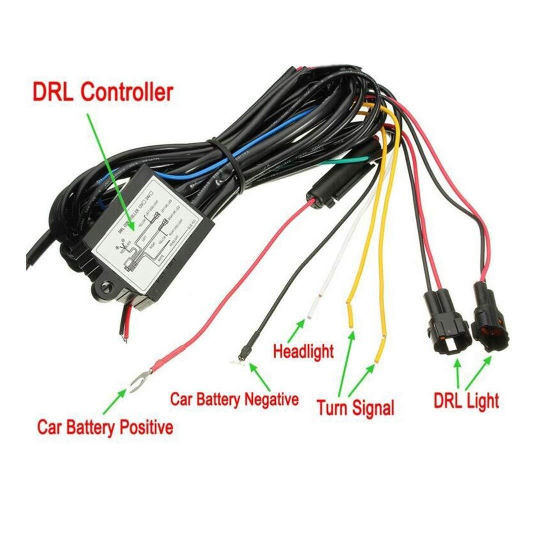 Control de arn/és de rel/é de luz LED de funcionamiento diurno multifunci/ón DRL Encendido Apagado Atenuador Controlador de luces de circulaci/ón diurna del autom/óvil ToGames