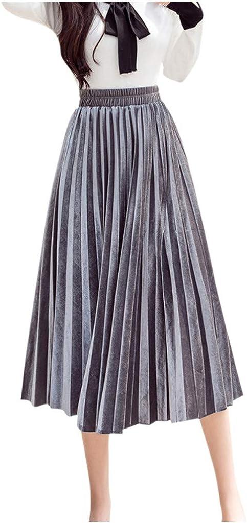 Falda para Mujer,Lenfesh Falda de Mujer sólida Falda Plisada Casual de Cintura Alta Midi Elasticidad Falda Larga Mujer Oficina Primavera
