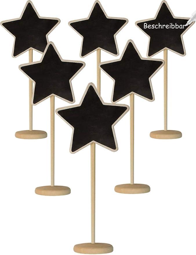 HomeTools.eu® - 6 pizarras de Madera con Forma de Estrella ...