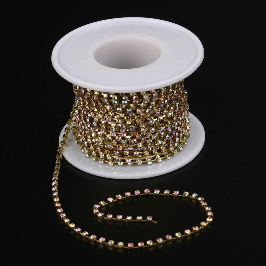 Hongxin 10 Yards Roll Clear Crystal SS6.5-SS16(2mm-4mm) Silver Gold Base Cup  Rhinestone Chain Apparel Sewing Style Diy Beauty Accessories Rhinestone  Chain ... 0635ceb6deac